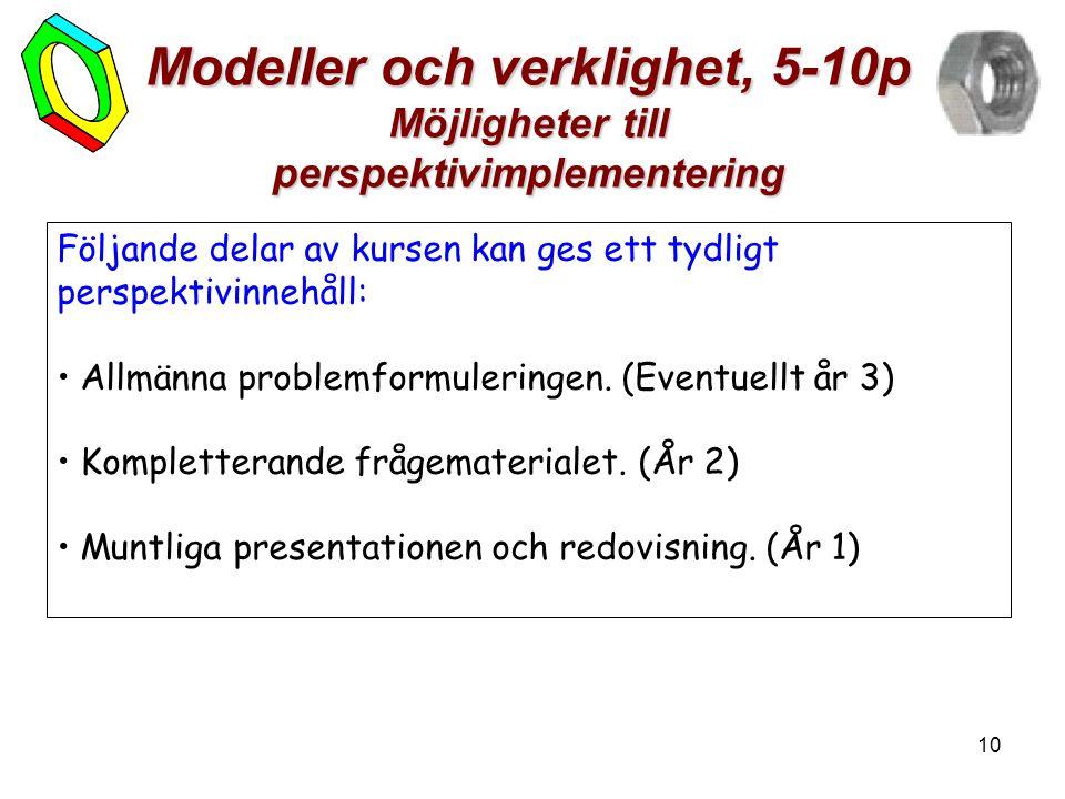 10 Modeller och verklighet, 5-10p Möjligheter till perspektivimplementering Följande delar av kursen kan ges ett tydligt perspektivinnehåll: • Allmänna problemformuleringen.