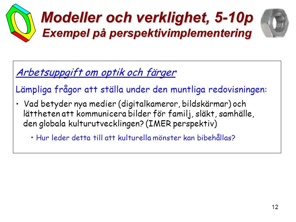 12 Modeller och verklighet, 5-10p Exempel på perspektivimplementering Arbetsuppgift om optik och färger Lämpliga frågor att ställa under den muntliga