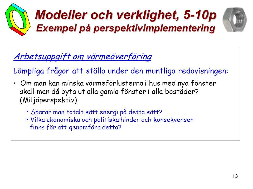 13 Modeller och verklighet, 5-10p Exempel på perspektivimplementering Arbetsuppgift om värmeöverföring Lämpliga frågor att ställa under den muntliga r