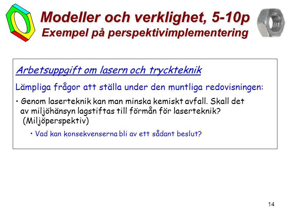 14 Modeller och verklighet, 5-10p Exempel på perspektivimplementering Arbetsuppgift om lasern och tryckteknik Lämpliga frågor att ställa under den mun
