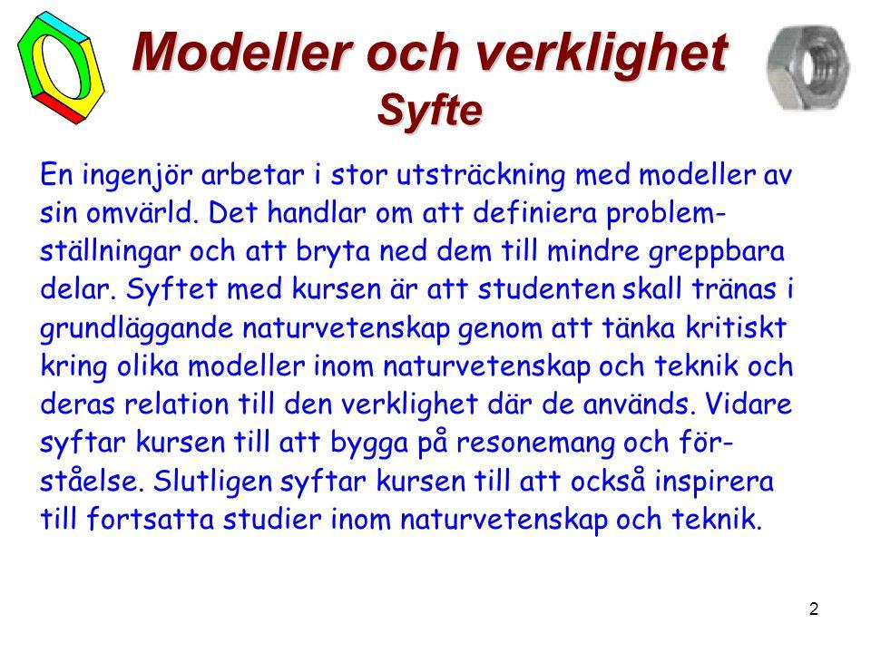 2 Modeller och verklighet Syfte En ingenjör arbetar i stor utsträckning med modeller av sin omvärld. Det handlar om att definiera problem- ställningar