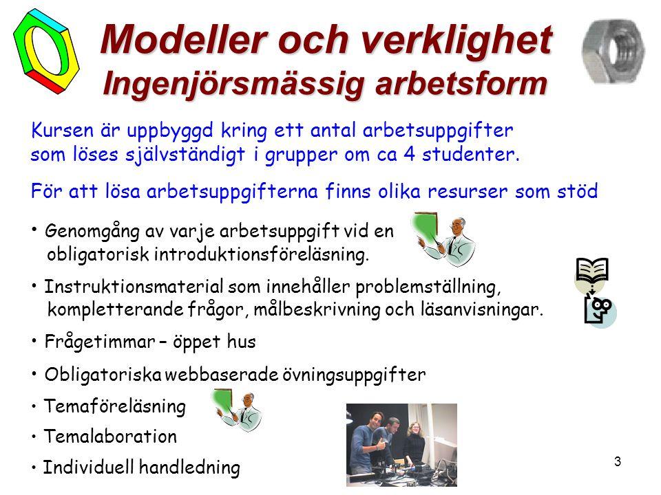 3 Modeller och verklighet Ingenjörsmässig arbetsform Kursen är uppbyggd kring ett antal arbetsuppgifter som löses självständigt i grupper om ca 4 studenter.