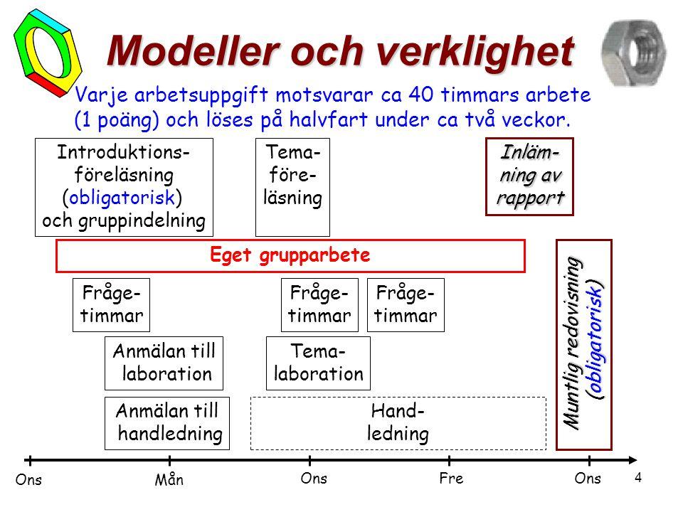 4 Modeller och verklighet Varje arbetsuppgift motsvarar ca 40 timmars arbete (1 poäng) och löses på halvfart under ca två veckor. Introduktions- förel
