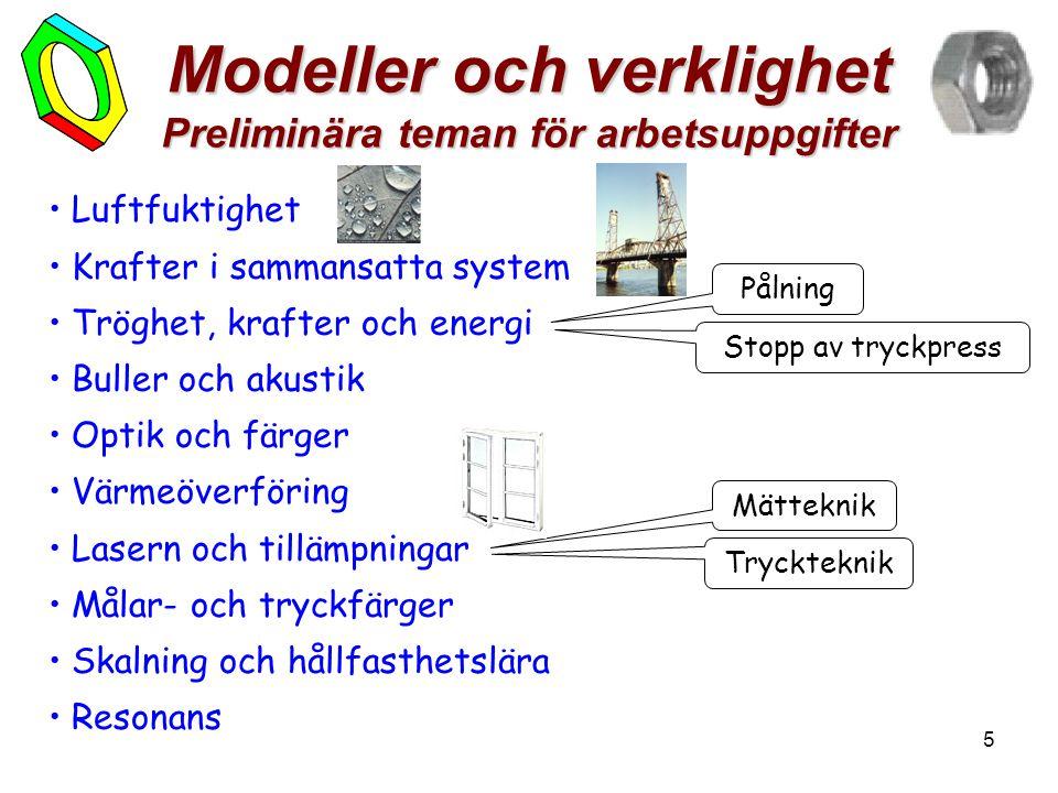 5 Modeller och verklighet Preliminära teman för arbetsuppgifter • Luftfuktighet • Krafter i sammansatta system • Tröghet, krafter och energi • Buller och akustik • Optik och färger • Värmeöverföring • Lasern och tillämpningar • Målar- och tryckfärger • Skalning och hållfasthetslära • Resonans Pålning Stopp av tryckpress Mätteknik Tryckteknik