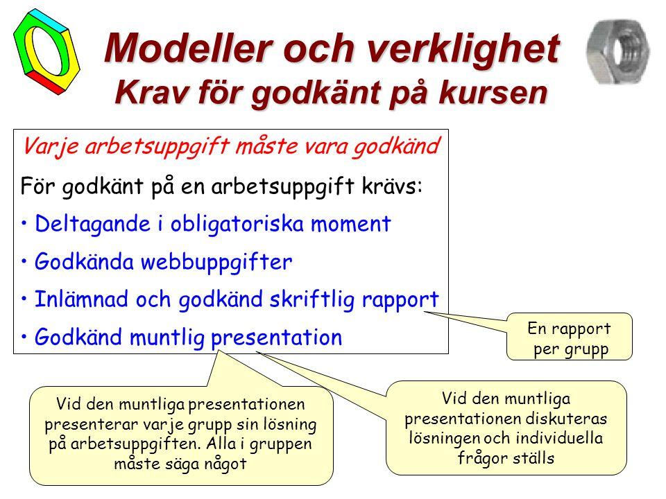 7 Modeller och verklighet Krav för godkänt på kursen Varje arbetsuppgift måste vara godkänd För godkänt på en arbetsuppgift krävs: • Deltagande i obli