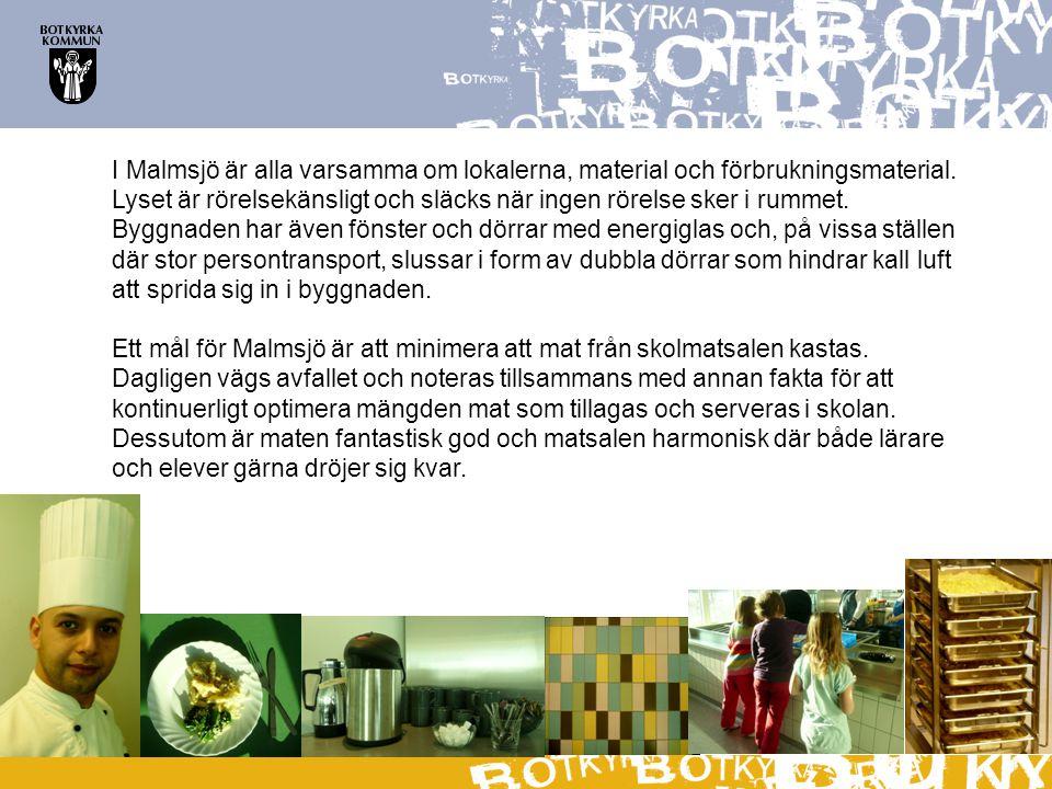 I Malmsjö är alla varsamma om lokalerna, material och förbrukningsmaterial. Lyset är rörelsekänsligt och släcks när ingen rörelse sker i rummet. Byggn
