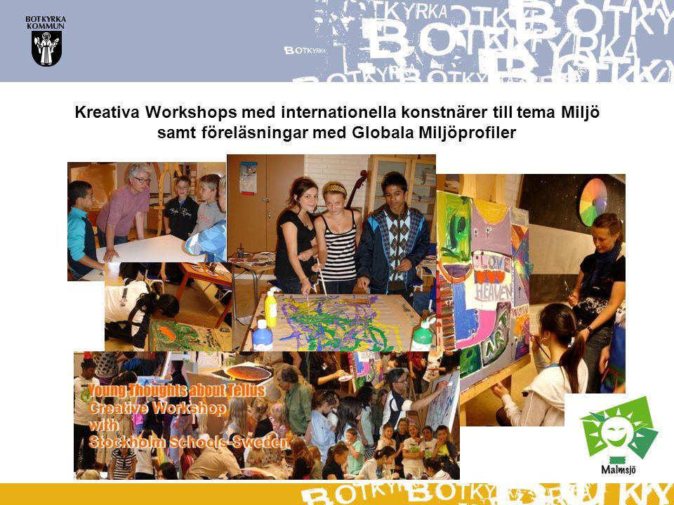 Kreativa Workshops med internationella konstnärer till tema Miljö samt föreläsningar med Globala Miljöprofiler