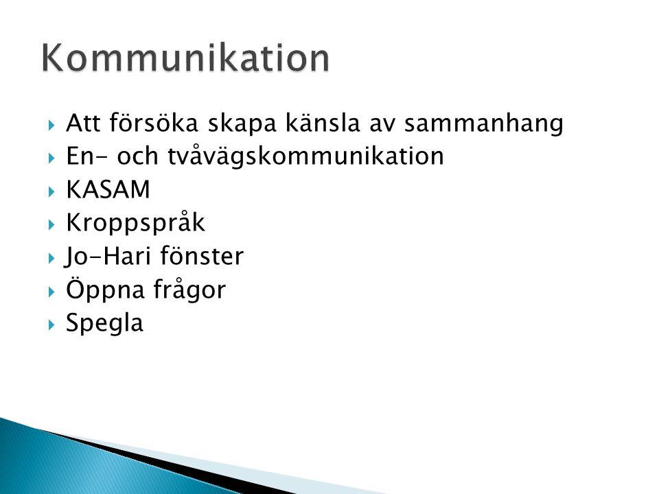  Att försöka skapa känsla av sammanhang  En- och tvåvägskommunikation  KASAM  Kroppspråk  Jo-Hari fönster  Öppna frågor  Spegla