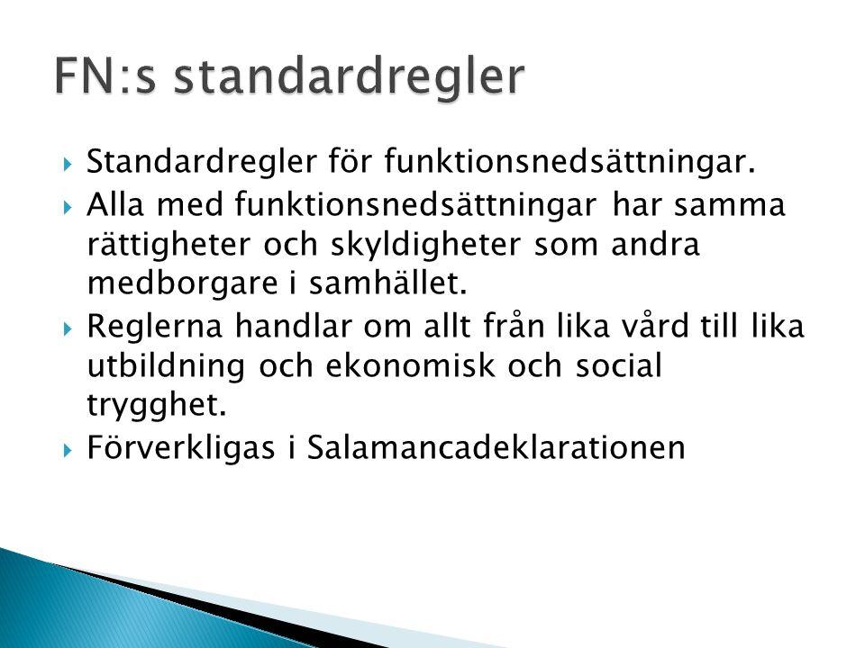 Standardregler för funktionsnedsättningar.  Alla med funktionsnedsättningar har samma rättigheter och skyldigheter som andra medborgare i samhället