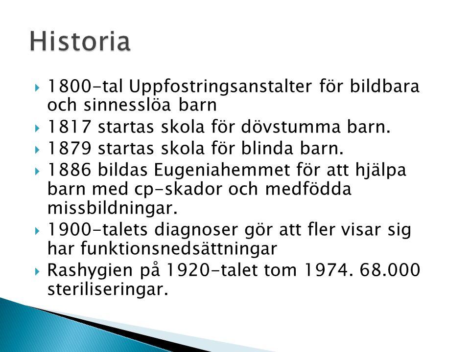  1800-tal Uppfostringsanstalter för bildbara och sinnesslöa barn  1817 startas skola för dövstumma barn.  1879 startas skola för blinda barn.  188