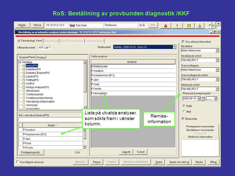 RoS: Beställning av provbunden diagnostik /KKF Lista på utvalda analyser, som sökts fram i vänster kolumn. Remiss- information