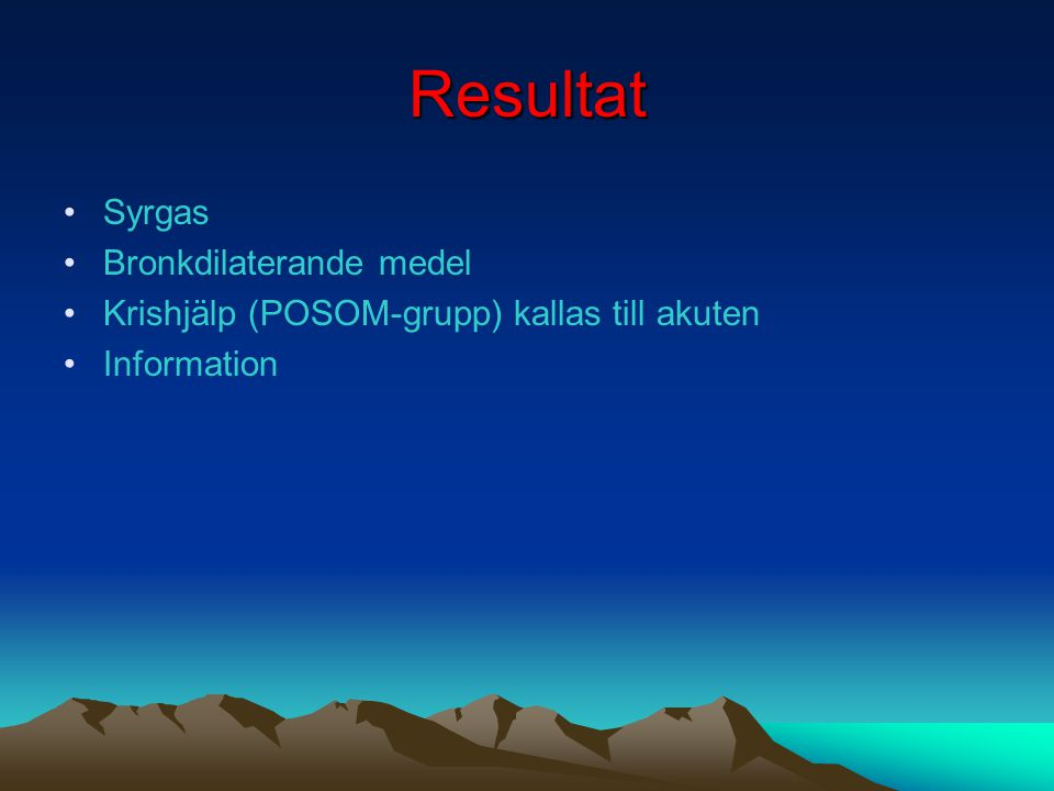 Fall 2 Många anländer till akuten pga.svår hosta och huvudvärk från bostadsområdet Örja.