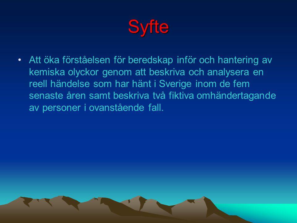 Bakgrund •Fredagen den 13 juli 2001 •Brand i batterilager i Landskrona •Semesterstängt •Villaområde 1 km söderut •Släckningsarbete under 2 dygn •Föror