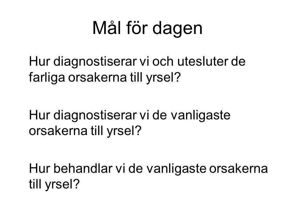 Akut vestibulärt syndrom AVS Plötslig debut, duration <24 h.