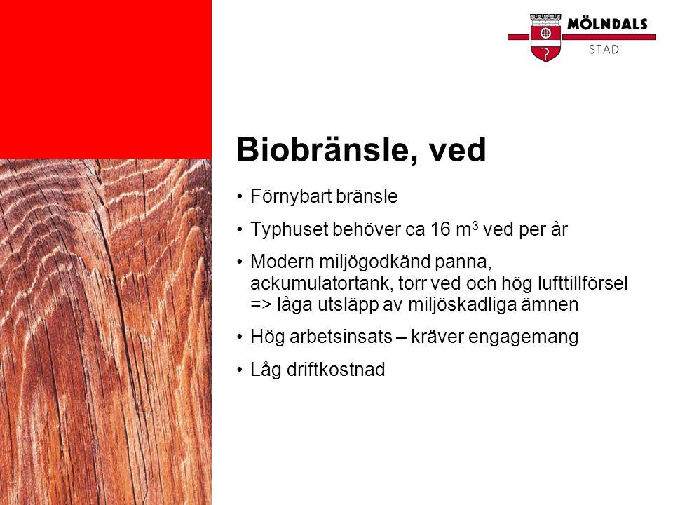Biobränsle, ved •Förnybart bränsle •Typhuset behöver ca 16 m 3 ved per år •Modern miljögodkänd panna, ackumulatortank, torr ved och hög lufttillförsel