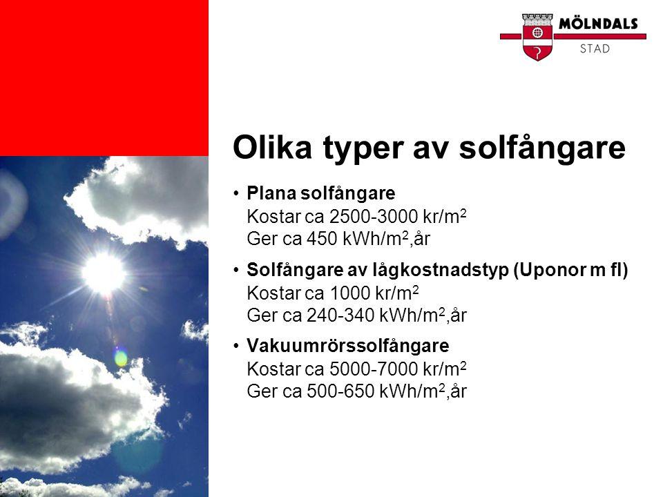 Olika typer av solfångare •Plana solfångare Kostar ca 2500-3000 kr/m 2 Ger ca 450 kWh/m 2,år •Solfångare av lågkostnadstyp (Uponor m fl) Kostar ca 100