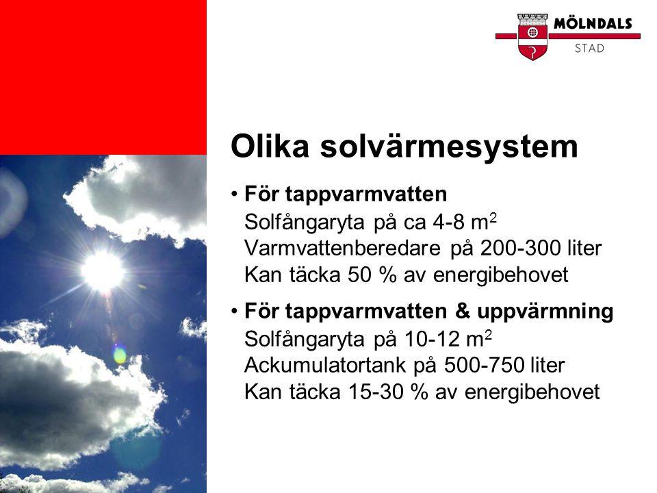 Olika solvärmesystem •För tappvarmvatten Solfångaryta på ca 4-8 m 2 Varmvattenberedare på 200-300 liter Kan täcka 50 % av energibehovet •För tappvarmv