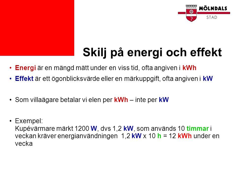 Skilj på energi och effekt •Energi är en mängd mätt under en viss tid, ofta angiven i kWh •Effekt är ett ögonblicksvärde eller en märkuppgift, ofta an