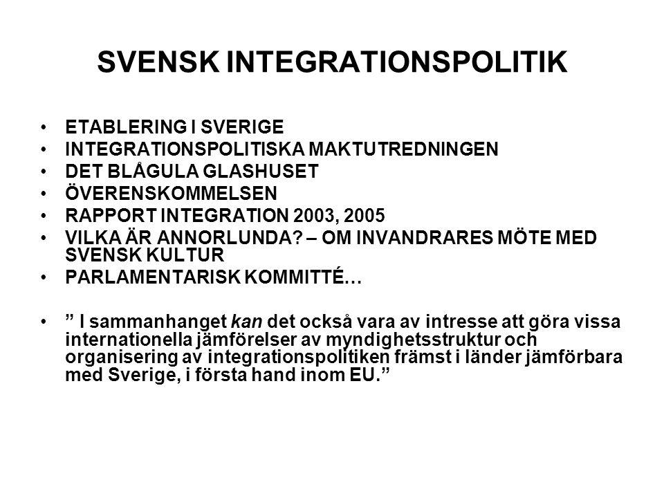 SVENSK INTEGRATIONSPOLITIK •ETABLERING I SVERIGE •INTEGRATIONSPOLITISKA MAKTUTREDNINGEN •DET BLÅGULA GLASHUSET •ÖVERENSKOMMELSEN •RAPPORT INTEGRATION 2003, 2005 •VILKA ÄR ANNORLUNDA.