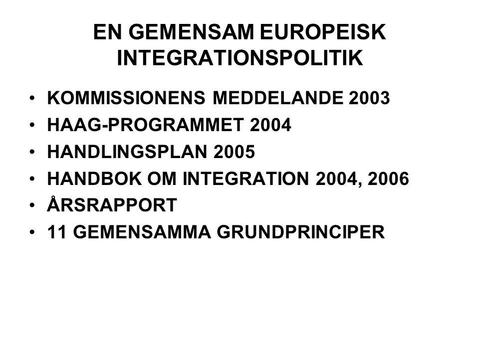 EN GEMENSAM EUROPEISK INTEGRATIONSPOLITIK •KOMMISSIONENS MEDDELANDE 2003 •HAAG-PROGRAMMET 2004 •HANDLINGSPLAN 2005 •HANDBOK OM INTEGRATION 2004, 2006 •ÅRSRAPPORT •11 GEMENSAMMA GRUNDPRINCIPER