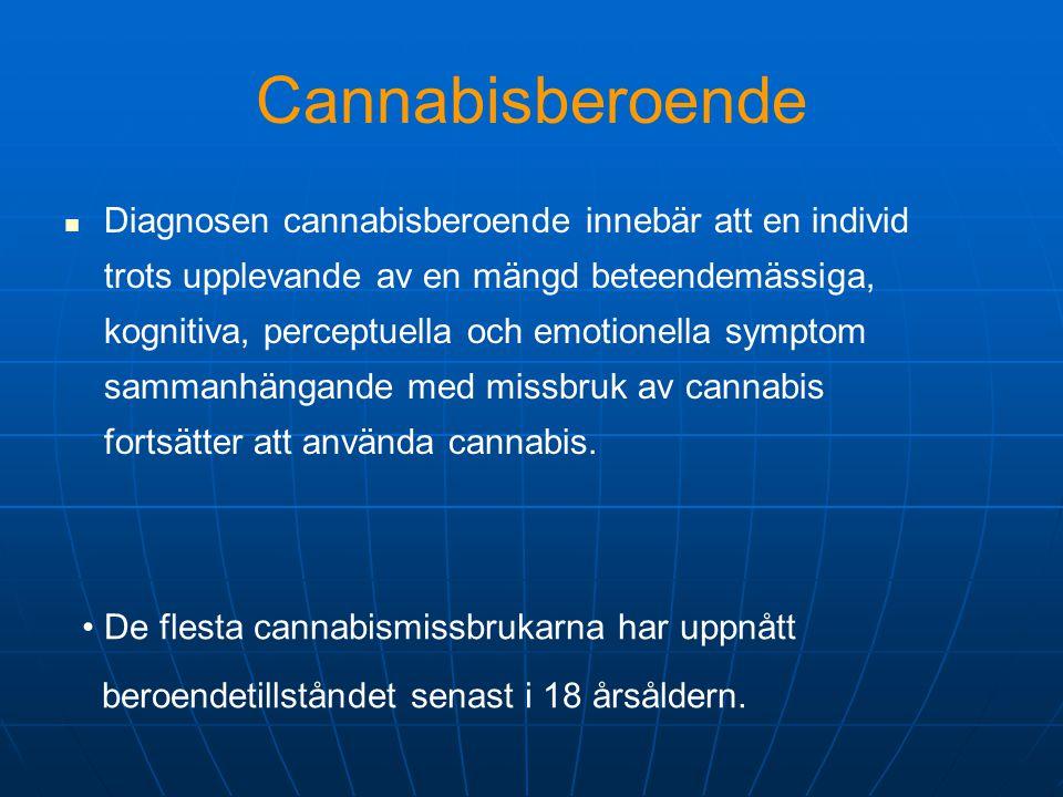Cannabisberoende   Diagnosen cannabisberoende innebär att en individ trots upplevande av en mängd beteendemässiga, kognitiva, perceptuella och emoti