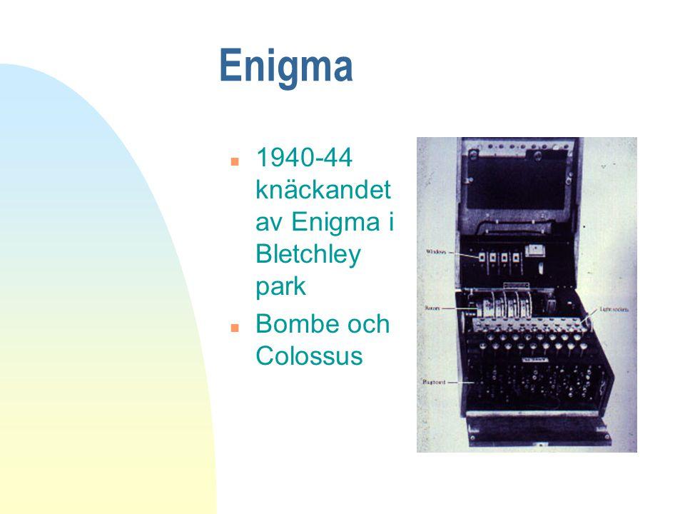 Enigma n 1940-44 knäckandet av Enigma i Bletchley park n Bombe och Colossus