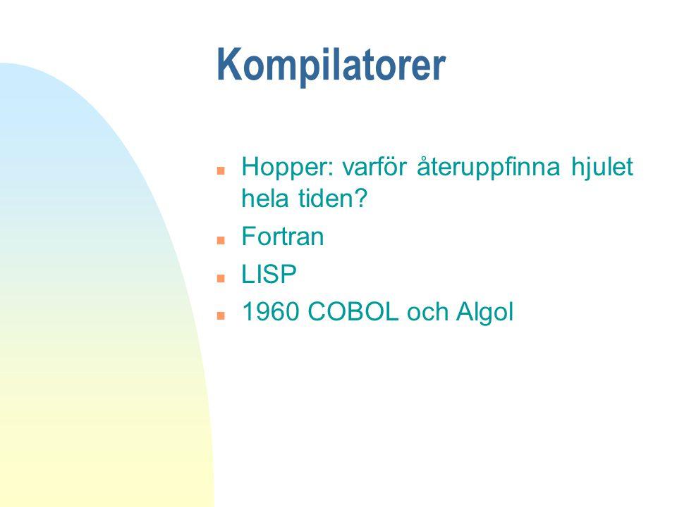 Kompilatorer n Hopper: varför återuppfinna hjulet hela tiden? n Fortran n LISP n 1960 COBOL och Algol
