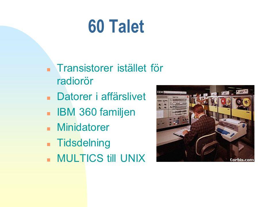 60 Talet n Transistorer istället för radiorör n Datorer i affärslivet n IBM 360 familjen n Minidatorer n Tidsdelning n MULTICS till UNIX
