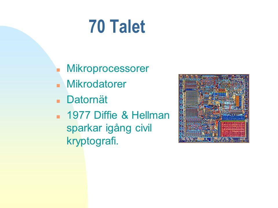 70 Talet n Mikroprocessorer n Mikrodatorer n Datornät n 1977 Diffie & Hellman sparkar igång civil kryptografi.