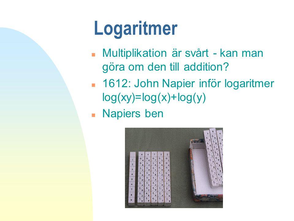Logaritmer n Multiplikation är svårt - kan man göra om den till addition? n 1612: John Napier inför logaritmer log(xy)=log(x)+log(y) n Napiers ben
