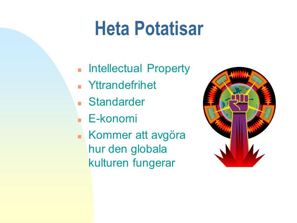 Heta Potatisar n Intellectual Property n Yttrandefrihet n Standarder n E-konomi n Kommer att avgöra hur den globala kulturen fungerar