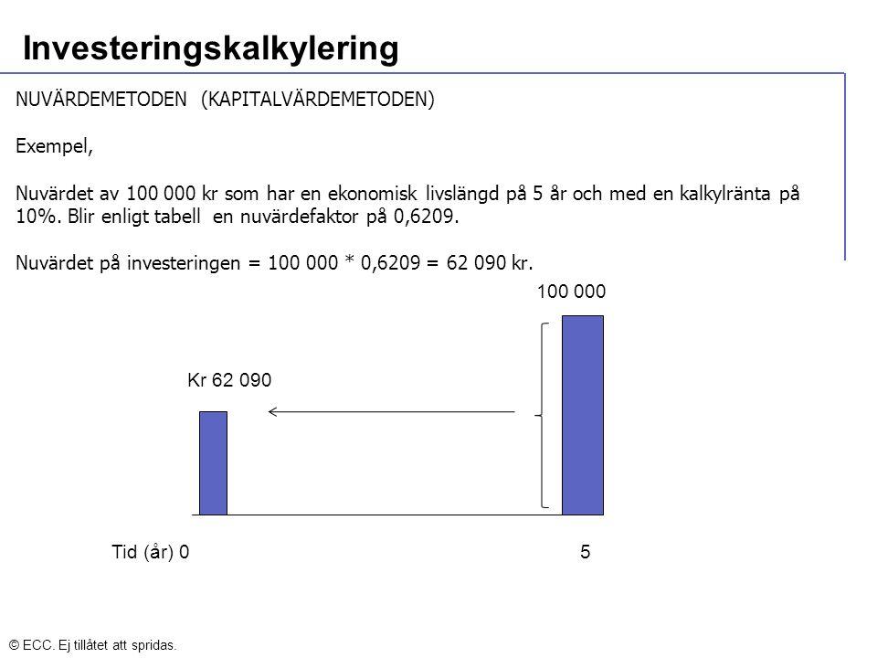 Investeringskalkylering NUVÄRDEMETODEN (KAPITALVÄRDEMETODEN) Exempel, Nuvärdet av 100 000 kr som har en ekonomisk livslängd på 5 år och med en kalkylr