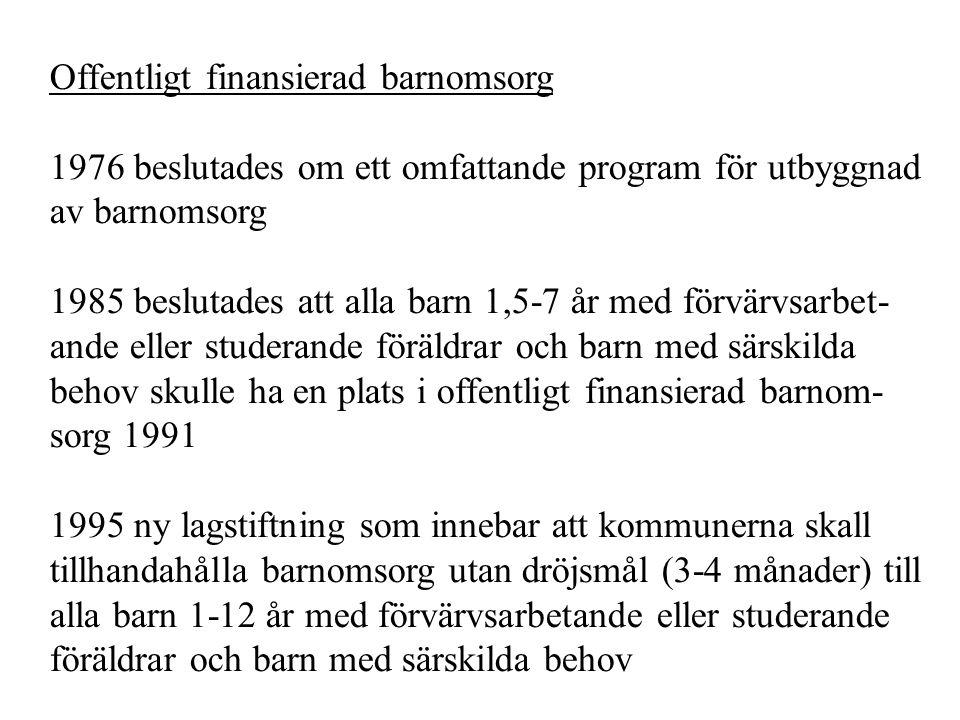 Offentligt finansierad barnomsorg 1976 beslutades om ett omfattande program för utbyggnad av barnomsorg 1985 beslutades att alla barn 1,5-7 år med för