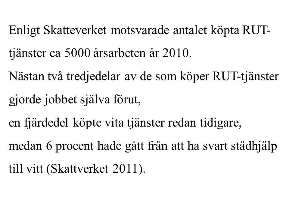 Enligt Skatteverket motsvarade antalet köpta RUT- tjänster ca 5000 årsarbeten år 2010. Nästan två tredjedelar av de som köper RUT-tjänster gjorde jobb