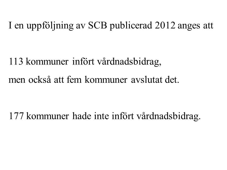 I en uppföljning av SCB publicerad 2012 anges att 113 kommuner infört vårdnadsbidrag, men också att fem kommuner avslutat det. 177 kommuner hade inte
