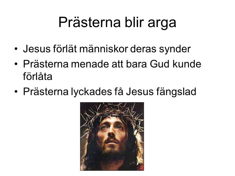 Prästerna blir arga •Jesus förlät människor deras synder •Prästerna menade att bara Gud kunde förlåta •Prästerna lyckades få Jesus fängslad