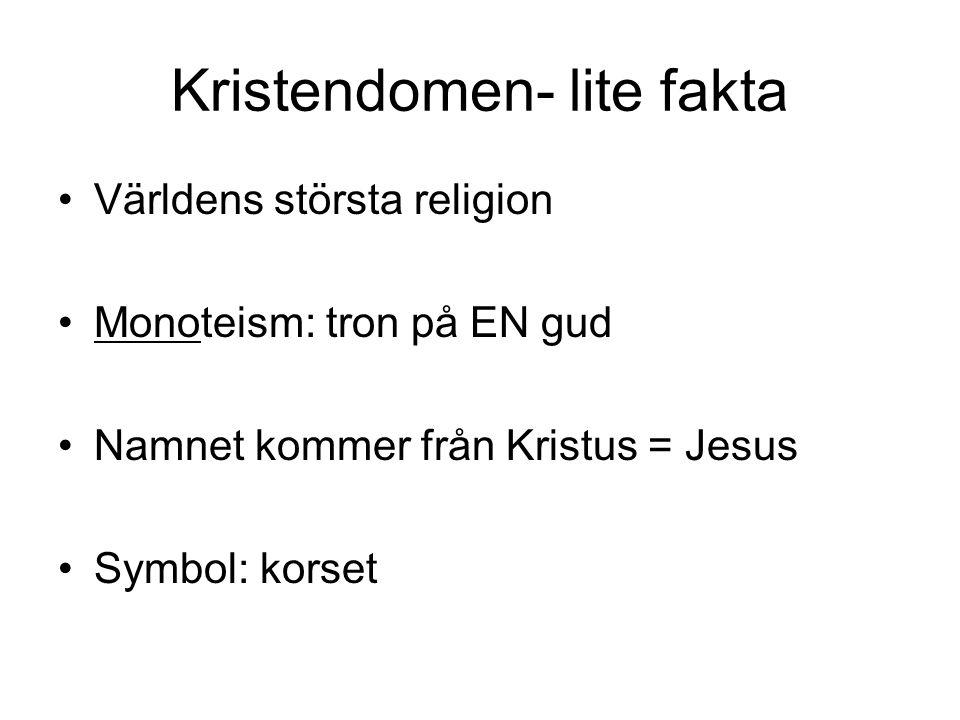 Kristendomen- lite fakta •Världens största religion •Monoteism: tron på EN gud •Namnet kommer från Kristus = Jesus •Symbol: korset