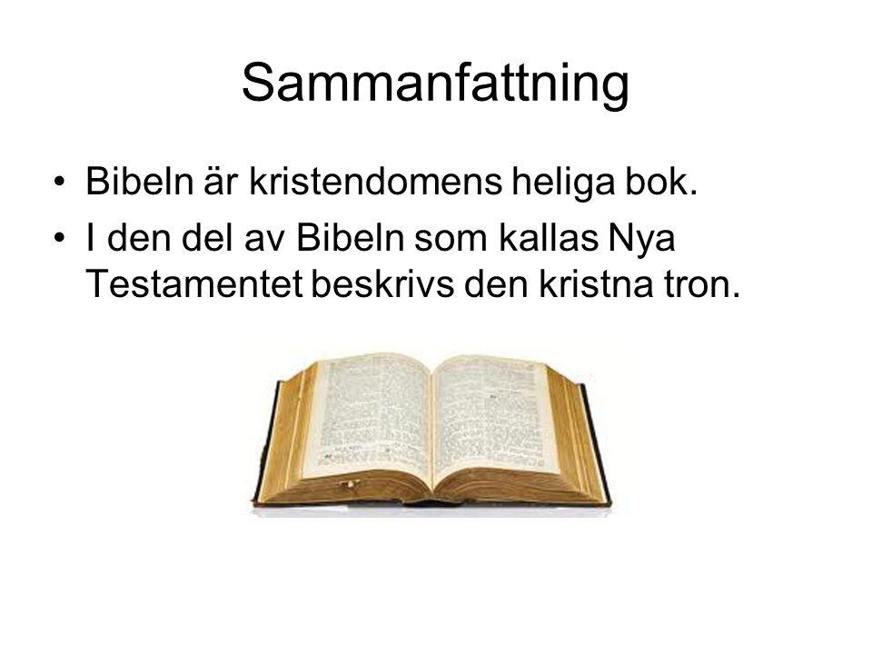 Sammanfattning •Bibeln är kristendomens heliga bok. •I den del av Bibeln som kallas Nya Testamentet beskrivs den kristna tron.