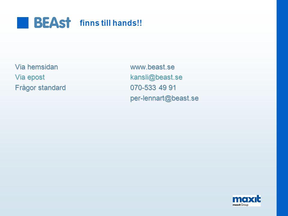 finns till hands!! Via hemsidan www.beast.se Via epostkansli@beast.se Frågor standard070-533 49 91 per-lennart@beast.se