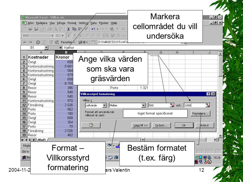 2004-11-29Copyright Lars Valentin12 Markera cellområdet du vill undersöka Format – Villkorsstyrd formatering Ange vilka värden som ska vara gräsvärden Bestäm formatet (t.ex.