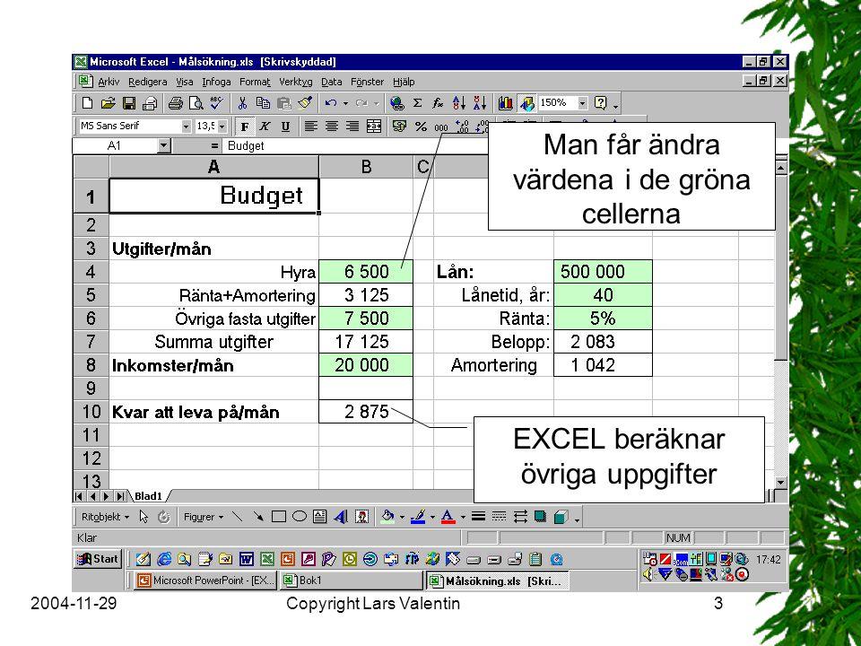 2004-11-29Copyright Lars Valentin3 Man får ändra värdena i de gröna cellerna EXCEL beräknar övriga uppgifter