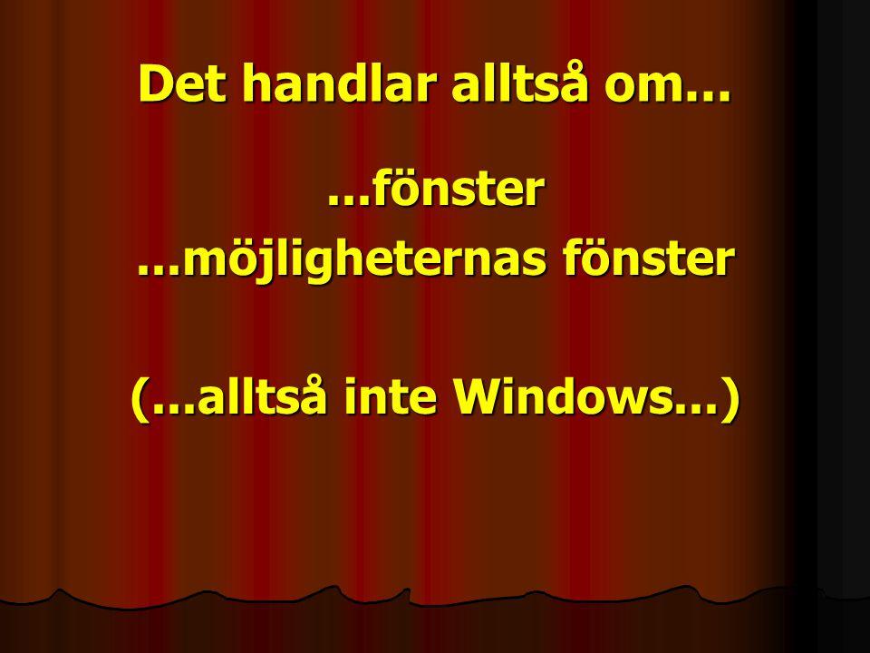 Det handlar alltså om......fönster...möjligheternas fönster (...alltså inte Windows...)
