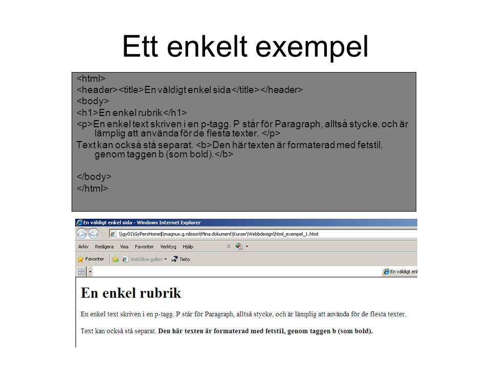 Ett enkelt exempel En väldigt enkel sida En enkel rubrik En enkel text skriven i en p-tagg.