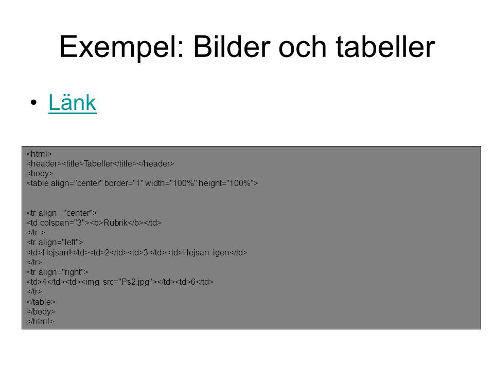 Exempel: Bilder och tabeller •LänkLänk Tabeller Rubrik Hejsan! 2 3 Hejsan igen 4 6