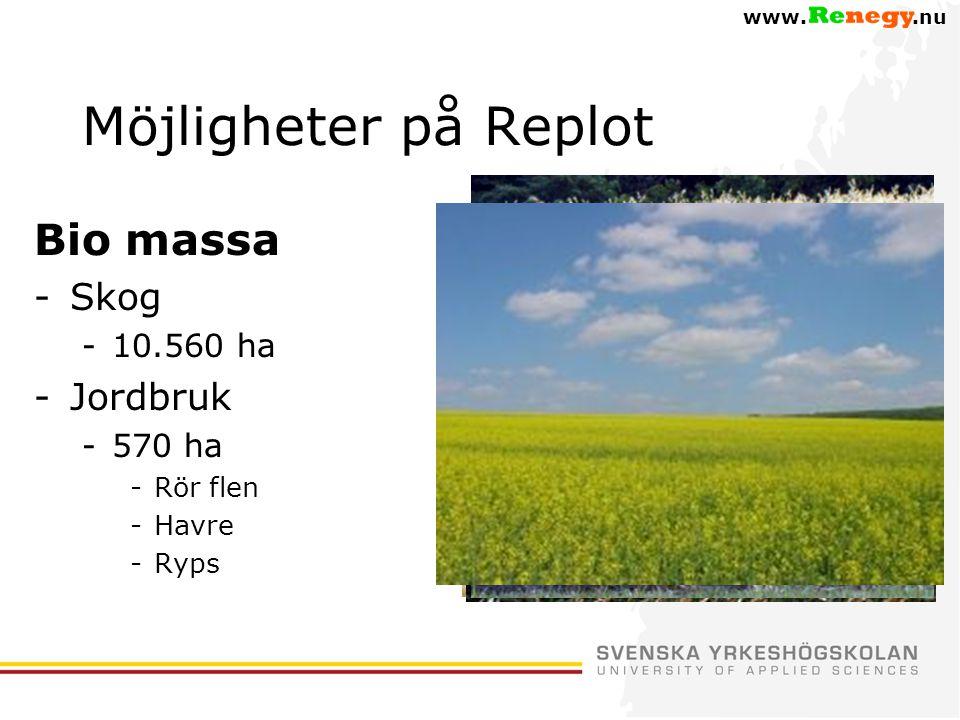 Möjligheter på Replot Bio massa -Skog -10.560 ha -Jordbruk -570 ha -Rör flen -Havre -Ryps