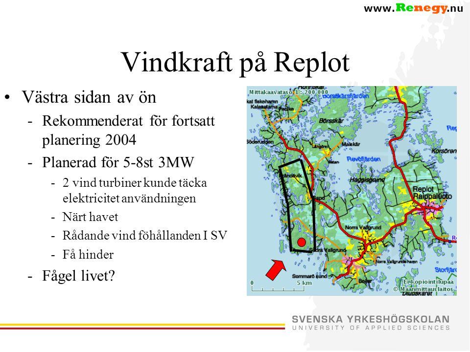www..nu Vindkraft på Replot •Västra sidan av ön -Rekommenderat för fortsatt planering 2004 -Planerad för 5-8st 3MW -2 vind turbiner kunde täcka elektricitet användningen -Närt havet -Rådande vind föhållanden I SV -Få hinder -Fågel livet?
