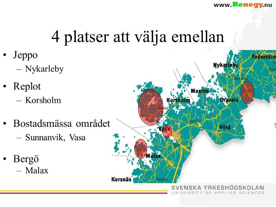 www..nu 4 platser att välja emellan •Bergö –Malax •Replot –Korsholm •Jeppo –Nykarleby •Bostadsmässa området –Sunnanvik, Vasa