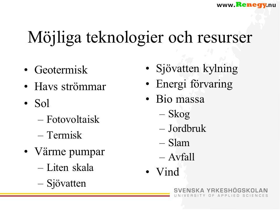 www..nu Möjliga teknologier och resurser •Geotermisk •Havs strömmar •Sol –Fotovoltaisk –Termisk •Värme pumpar –Liten skala –Sjövatten •Sjövatten kylning •Energi förvaring •Bio massa –Skog –Jordbruk –Slam –Avfall •Vind