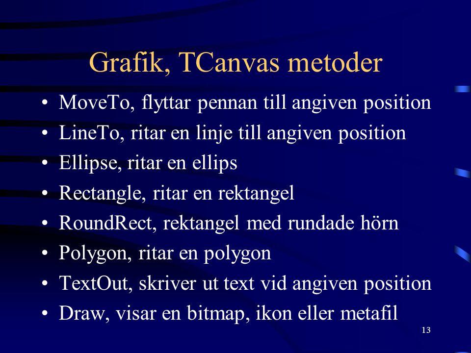 13 Grafik, TCanvas metoder •MoveTo, flyttar pennan till angiven position •LineTo, ritar en linje till angiven position •Ellipse, ritar en ellips •Rectangle, ritar en rektangel •RoundRect, rektangel med rundade hörn •Polygon, ritar en polygon •TextOut, skriver ut text vid angiven position •Draw, visar en bitmap, ikon eller metafil