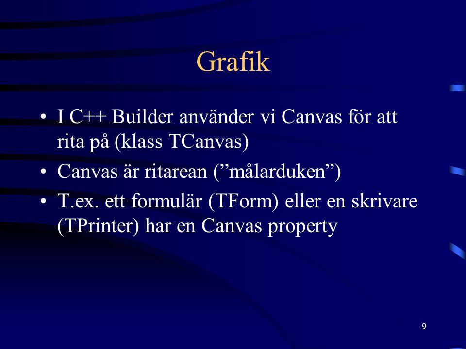"""9 Grafik •I C++ Builder använder vi Canvas för att rita på (klass TCanvas) •Canvas är ritarean (""""målarduken"""") •T.ex. ett formulär (TForm) eller en skr"""